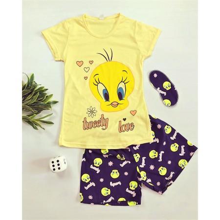 Pijama dama galbena cu imprimeu Tweety