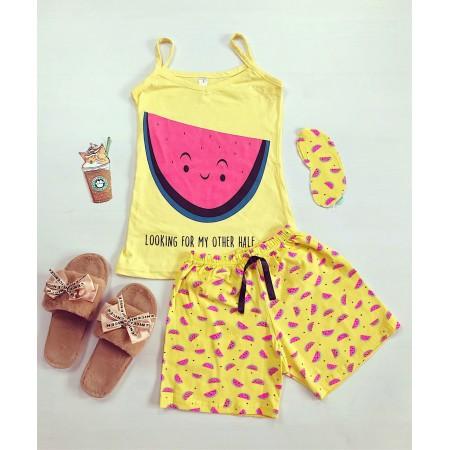 Pijama dama scurta galbena cu imprimeu dragut pepene