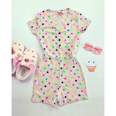 Pijama-salopeta crem cu imprimeu buline colorate