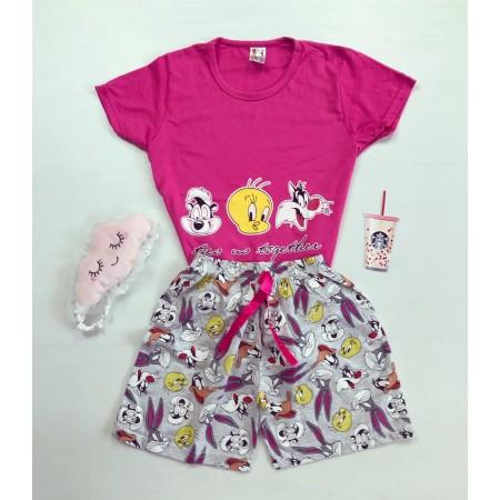 Pijama dama scurta roz cu imprimeu personaje Disney