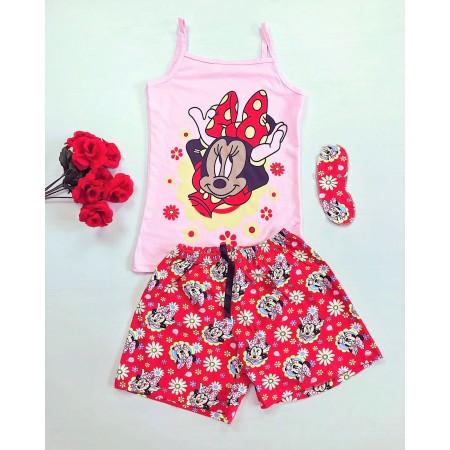 Pijama dama scurta de vara roz cu imprimeu Minnie