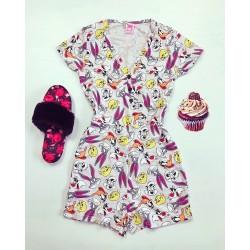 Pijama-salopeta gri cu imprimeu personaje Disney