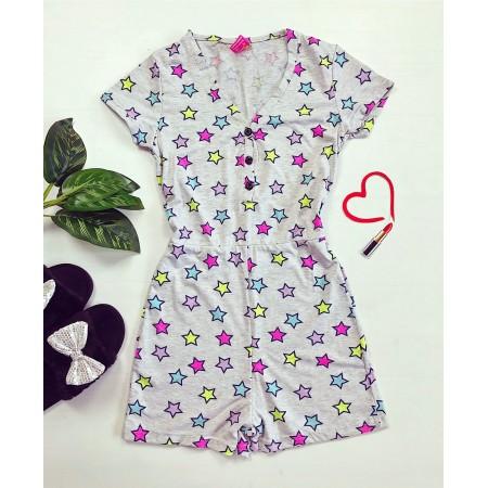 Pijama-salopeta gri cu imprimeu stelute colorate