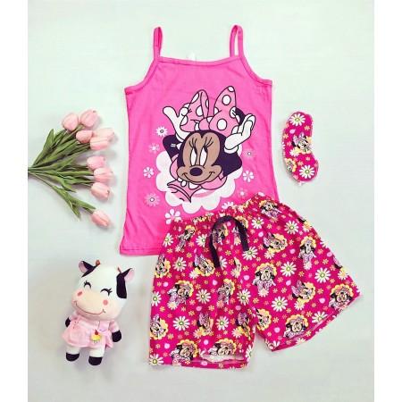 Pijama dama scurta roz cu imprimeu dragut Minnie