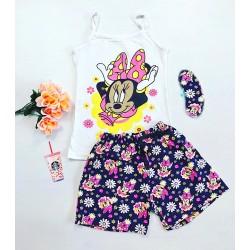 Pijama dama scurta alba cu imprimeu roz Minnie