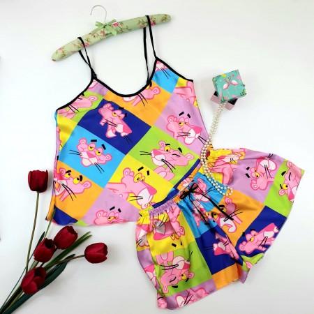 Pijama dama multicolora scurta satin diafana Pantera