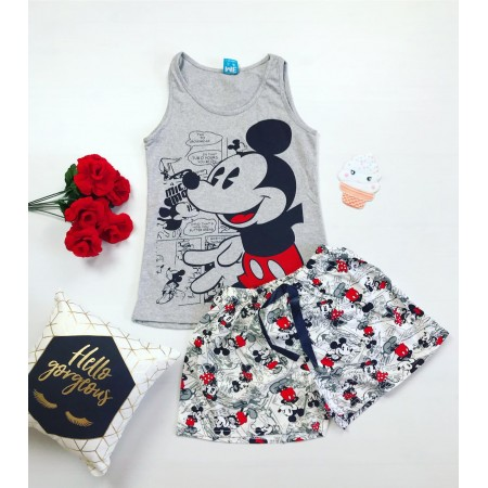 Pijama dama scurta gri cu imprimeu Mickey