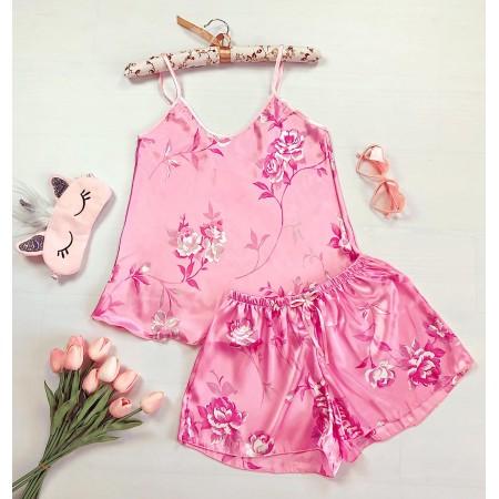 Compleu pijama roz maiou si pantaloni scurti din satin premium cu imprimeu trandafiri