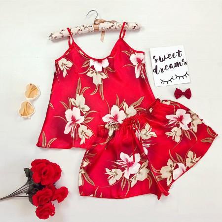 Compleu pijama rosu maiou si pantaloni scurti din satin premium cu imprimeu floral
