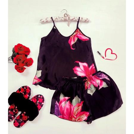 Compleu pijama negru maiou si pantaloni scurti din satin premium cu imprimeu floral