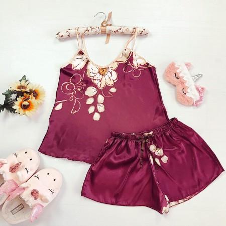 Compleu pijama roz inchis maiou si pantaloni scurti din satin premium cu imprimeu floral
