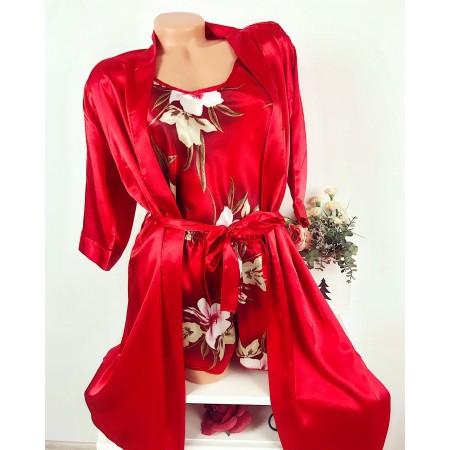 Compleu dama rosu pijama si halat din satin premium cu imprimeu floral