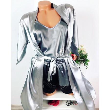 Compleu dama gri pijama si halat din satin premium cu imprimeu floral divin