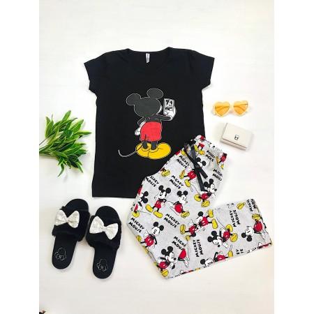 Pijama dama lunga neagra cu imprimeu colorat Selfie Mickey