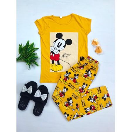 Pijama dama lunga galbena cu imprimeu colorat Smile Mickey