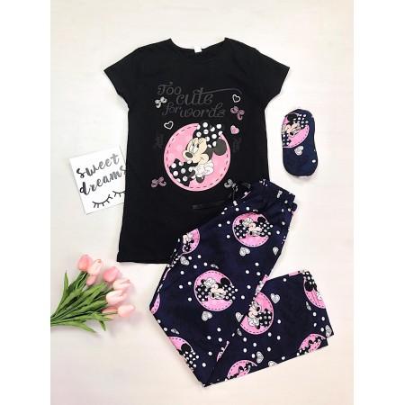 Pijama dama lunga neagra cu imprimeu colorat Cute Minnie