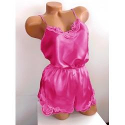 Compleu dama pijama roz inchis sexy din material fin satin