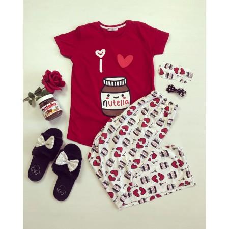 Pijama dama rosie cu imprimeu Nutella cu pantaloni colorati