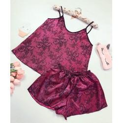 Compleu pijama set maiou si pantaloni scurti din satin premium cu imprimeu floral burgundy