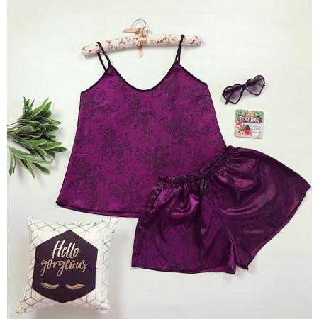 Compleu pijama set maiou si pantaloni scurti din satin premium cu imprimeu floral indigo