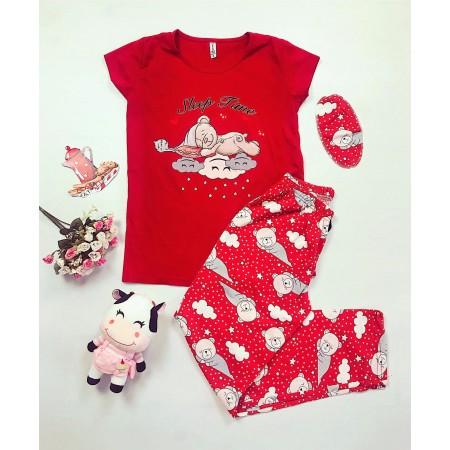 Pijama dama rosie lunga cu imprimeu ursuleti