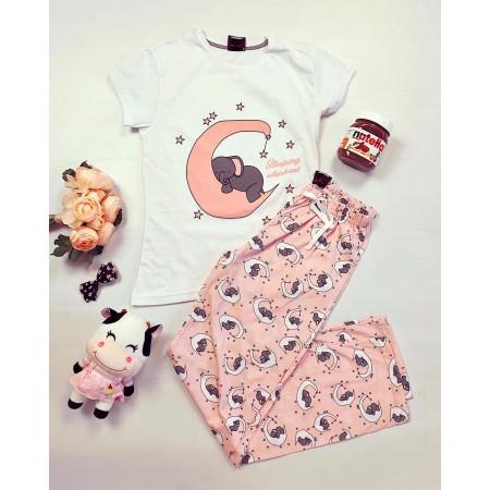 Pijama dama lunga roz cu alb cu imprimeu elefantel