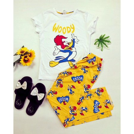 Pijama dama alba cu imprimeu galben Ciocanitoarea Woody