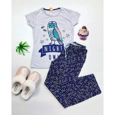 Pijama dama lunga gri cu imprimeu albastru bufnite