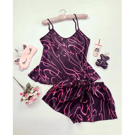 Compleu pijama set negru-roz maiou si pantaloni scurti din satin premium