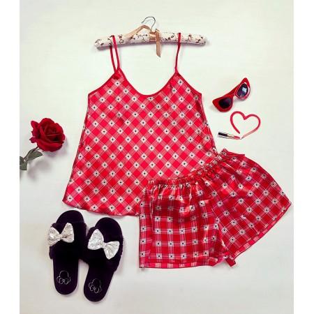 Compleu pijama set rosu maiou si pantaloni scurti din satin premium cu carouri