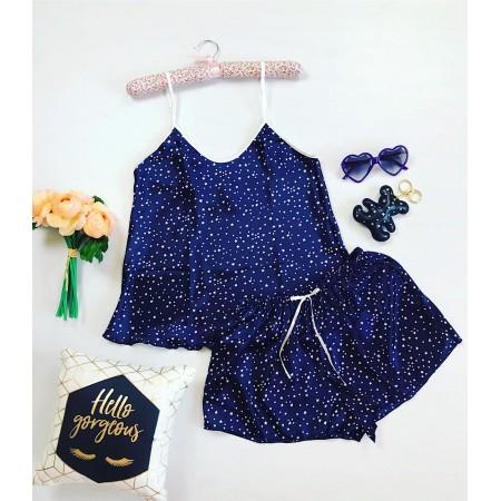 Pijama dama set din material satin culoare bleumarin inchis