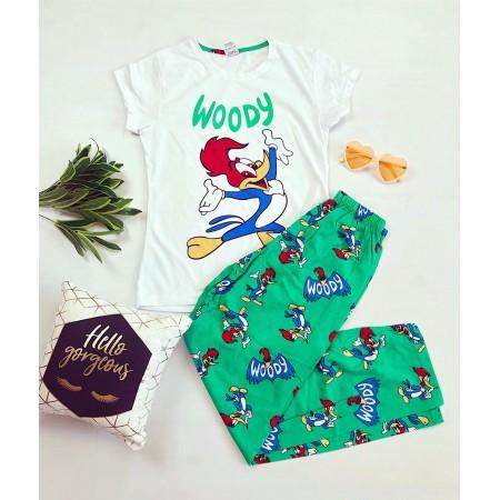 Pijama dama lunga alba cu verde imprimeu Woody