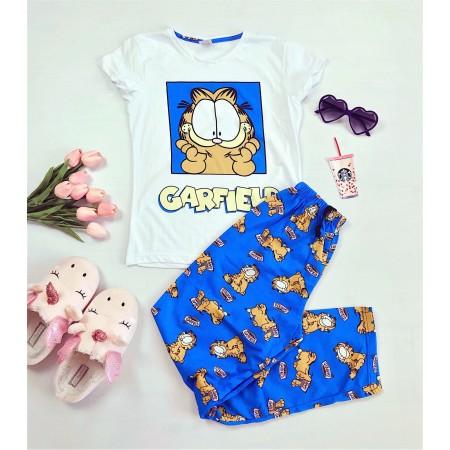 Pijama dama albastra lunga cu imprimeu Garfield