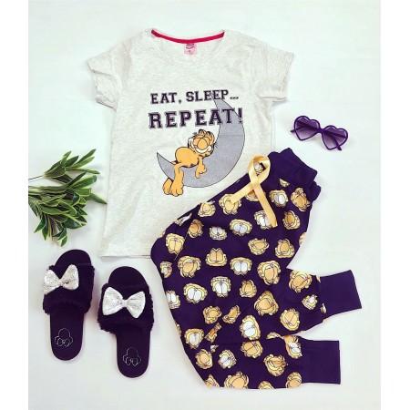 Pijama dama lunga cu imprimeu Garfield