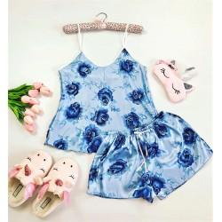 Compleu pijama dama din satin albastru cu imprimeu floral