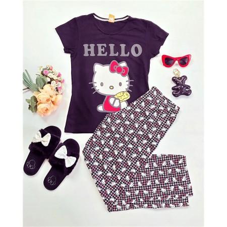 Pijama dama neagra cu imprimeu Hello Kitty