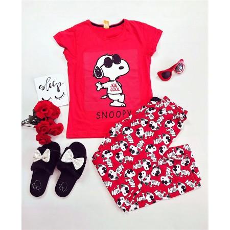Pijama dama lunga rosie cu imprimeu Snoopy