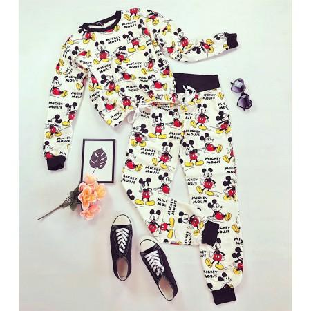 Compleu-pijama alb lung din bumbac cu imprimeu Mickey