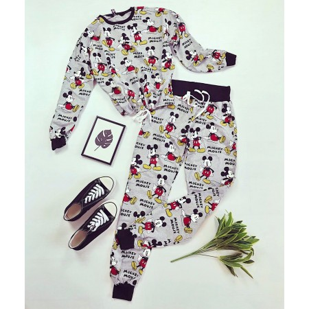 Compleu-pijama gri lung din bumbac cu imprimeu Mickey