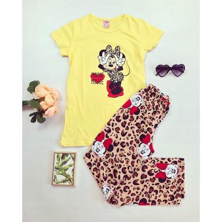 Pijama galbena lunga cu imprimeu animal print Minnie