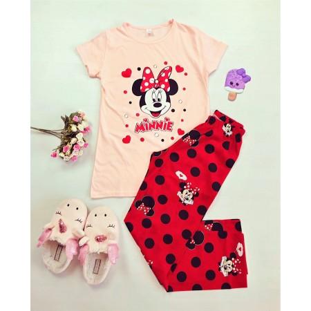 Pijama dama lunga roz cu imprimeu Minnie cu buline