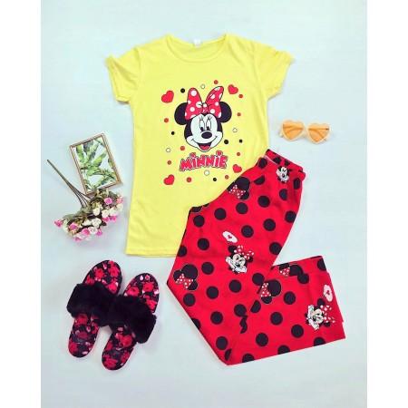 Pijama lunga galbena cu buline rosii si imprimeu Minnie