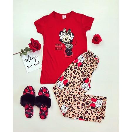 Pijama lunga rosie cu imprimeu animal print cu Minnie