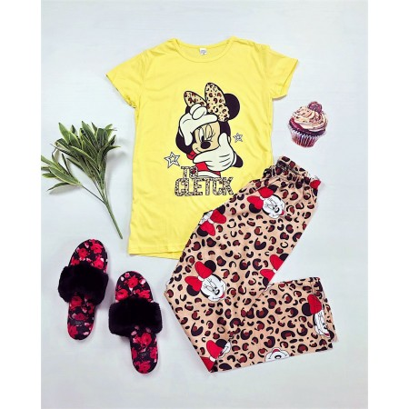 Pijama dama galbena cu imprimeu animal print