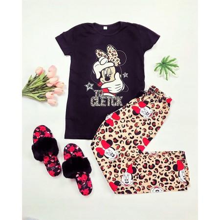 Pijama dama neagra cu imprimeu animal print colorat
