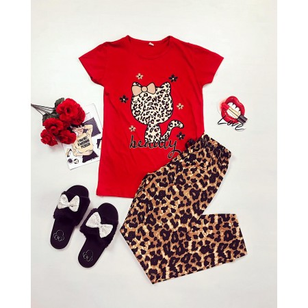 Pijama dama rosie cu imprimeu animal print
