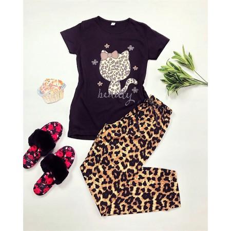 Pijama dama lunga neagra cu imprimeu animal print