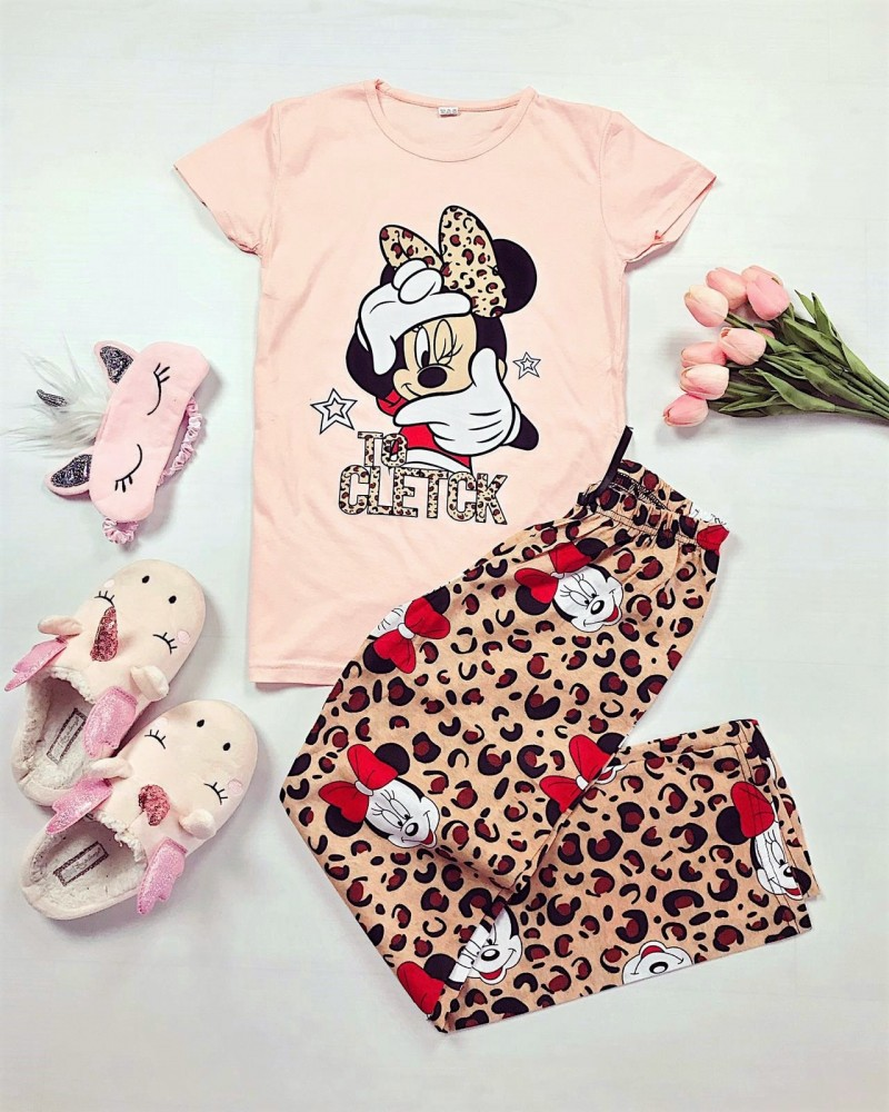 Pijama dama roz cu imprimeu animal print
