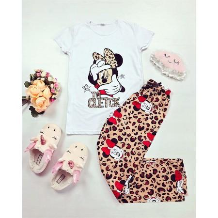 Pijama dama alba lunga cu imprimeu Minnie