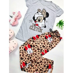 Pijama dama gri lunga cu imprimeu animal print